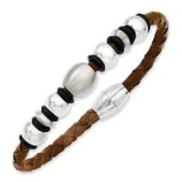 Stainless Steel Brown Leather with Beads 8.25in Bracelet
