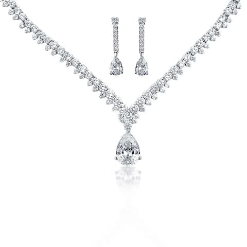 Vintage Style Bride Prom Dangling Teardrop Cubic Zirconia Statement Necklace Earring Set For Women Silver Plated Brass