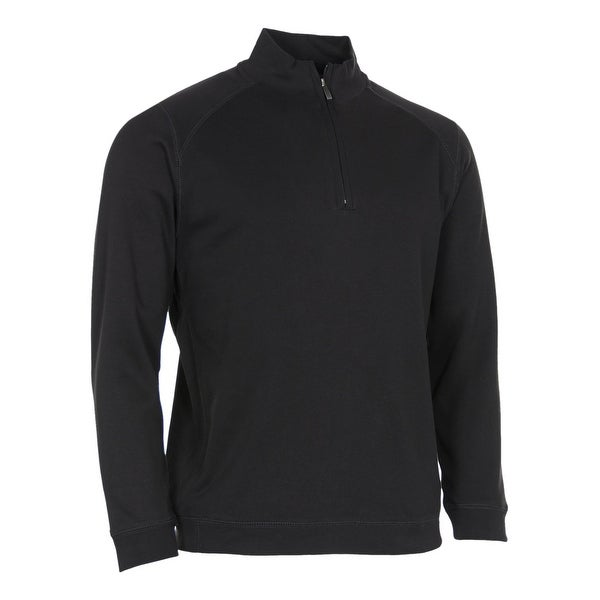 Kirkland Signature Cotton Quarter Zip Pullover Sweatshirt Black