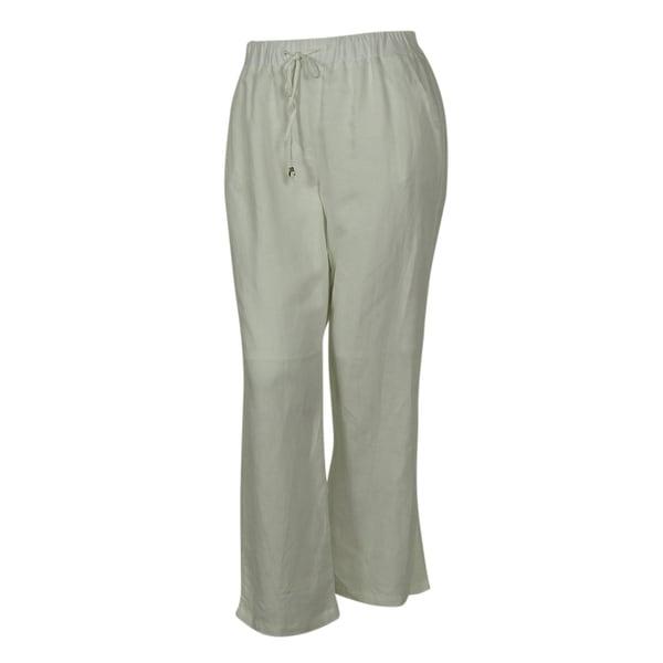 Elementz Women's Linen Blend Elastic Waist Pull On Pants - Flax - 1x