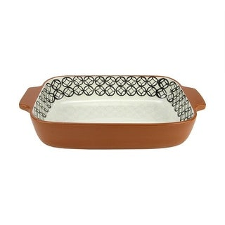 "14"" Basic Luxury Decorative Black and White Diamond Rectangular Terracotta Oven Baking Dish"
