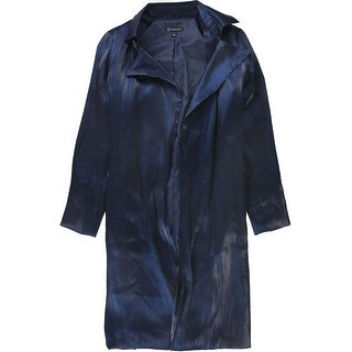 Link to I-N-C Womens Satin Trench Coat, blue, Large Similar Items in Women's Outerwear