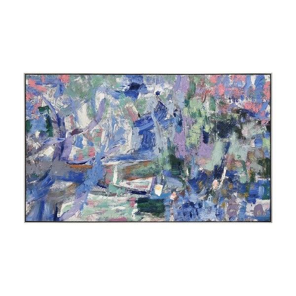 "60"" Blue and Green Bimmer Abstract Stroke Design Rectangular Framed Wall Art Decoration - N/A"