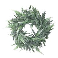 "10"" Artificial Dusty White Decorative Springtime Wispy Lavender Wreath - green"