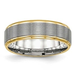 Stainless Steel Polished Yellow IP Grooved Ring (6 mm) - Sizes 6 - 13