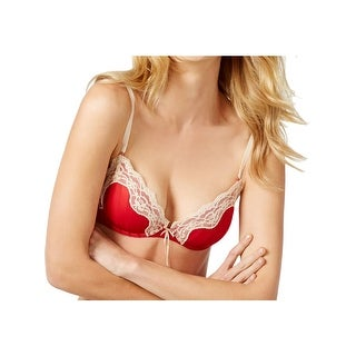 Heidi Klum Intimates Womens Push-Up Bra Lace Trim Underwire