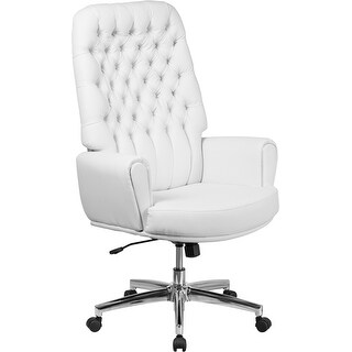 Silkeborg High Back Tufted White Leather Executive Swivel Chair w/Arms