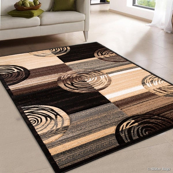 Allstar Black Hand Carved Indian Contemporary Circles Area Rug (7  x27  9