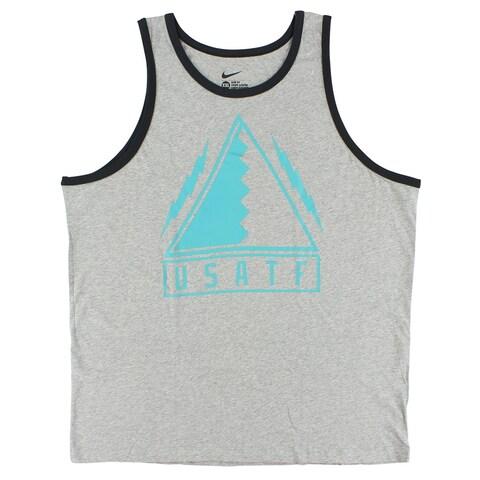Nike Mens Run USATF Tank Top Grey - grey/aqua blue - XXL