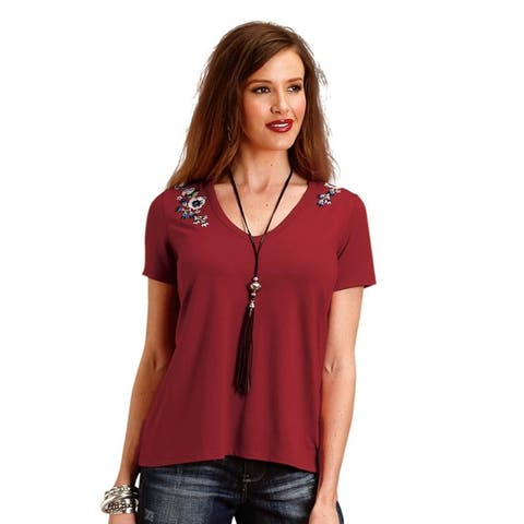 Stetson Western Shirt Womens Short Sleeve Tee Red
