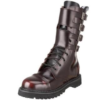 Demonia Mens Attack Leather Buckle Combat Boots - 6 medium (d)