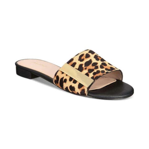 7391f61a553 Aldo Womens Aladoclya Leather Open Toe Casual Slide Sandals