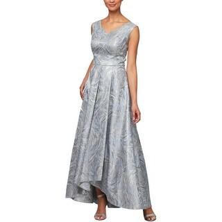 Alex Evenings Womens Evening Dress Metallic Pleated - Silver Multi