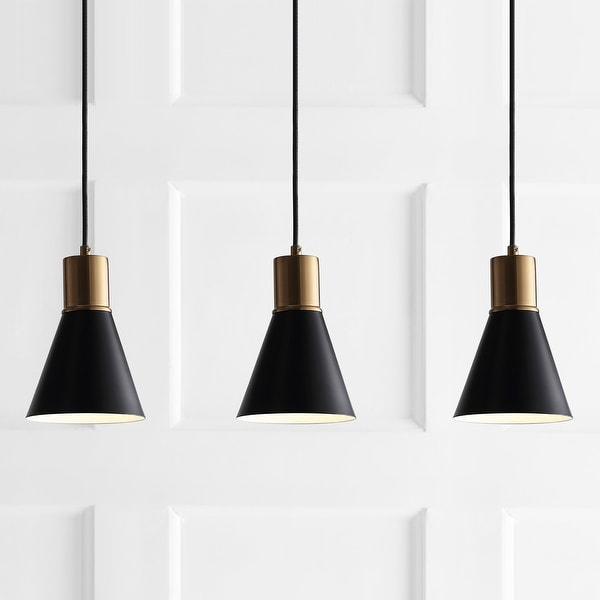 "Apollo 33.5"" 3-Light Modern Metal LED Cluster Pendant, Black by JONATHAN Y. Opens flyout."
