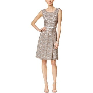 Connected Apparel Womens Petites Casual Dress Lace Mesh Inset