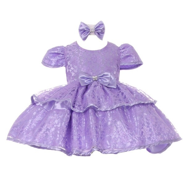 Baby Girls Lilac Floral Embroidered Lace Overlay Bow Flower Girl Dress