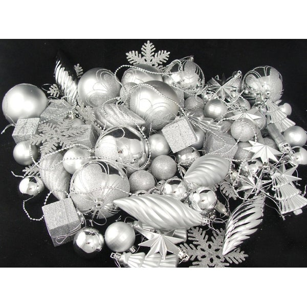 125-Piece Club Pack of Shatterproof Silver Splendor Christmas Ornaments