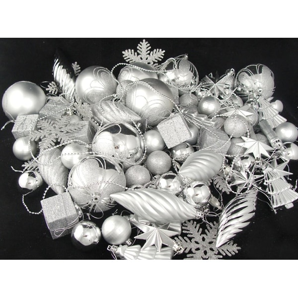 375-Piece Club Pack of Shatterproof Silver Splendor Christmas Ornaments