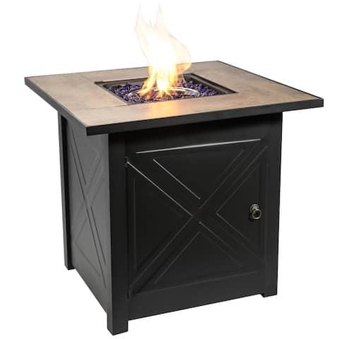 Peaktop - Square Steel Ceramic 27 Inch Propane Gas Fire Pit