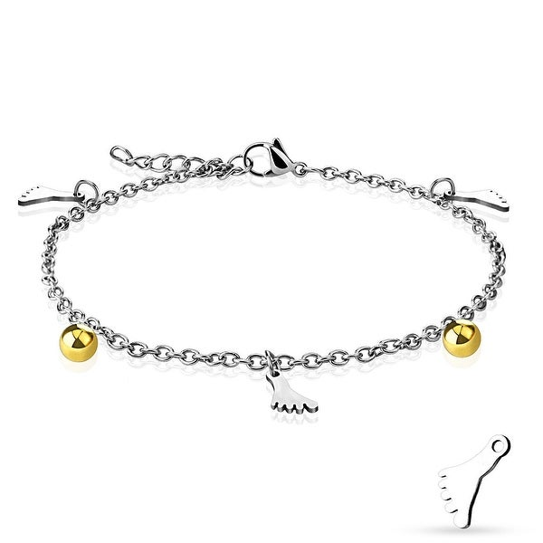 Dangling Foot Charm and Ball Chain 316L Stainless Steel Anklet/Bracelet (13.5 mm) - 9.25 in
