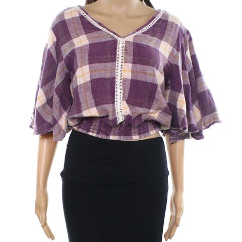 Angie Purple Women's Size Small S Plaid Print V-Neck Knit Top