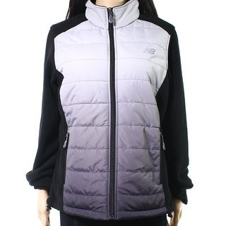 New Balance NEW Gray Womens Size Small S Ombre Mock Neck Quilted Jacket