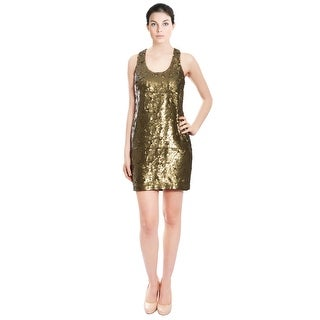 Robert Rodriguez Dazzling Brass Metallic Fully Sequin Cocktail Party Dress - 6