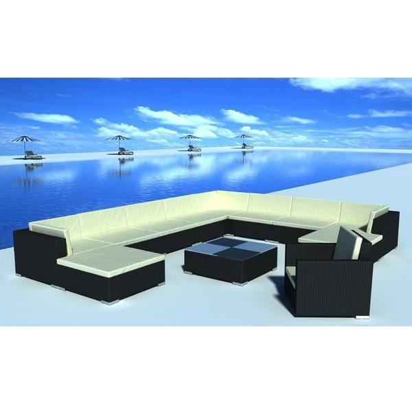 "vidaXL 12 Piece Garden Lounge Set with Cushions Poly Rattan Black - 28"" x 28"" x 25"""