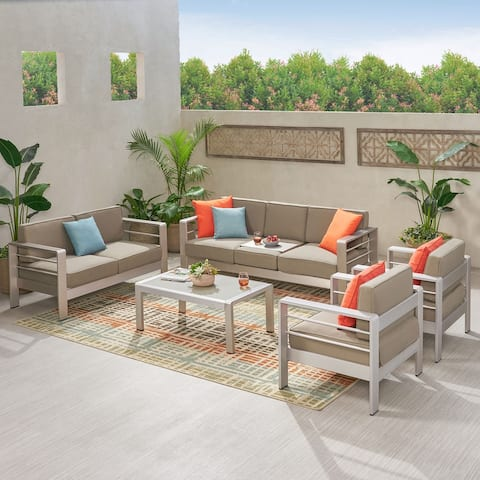 Cape Coral Outdoor 7-Seater Aluminum Patio Sofa Set with Coffee Table by Christopher Knight Home