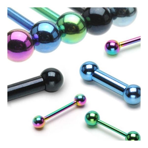 "10 Pieces Rainbow Colored Titanium Anodized Barbell Package - 14 GA 5/8"" Long (6mm Balls)"