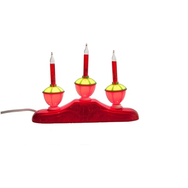 "9"" Red Glitter 3-Tier Bubble Light Candelabra Christmas Decoration"