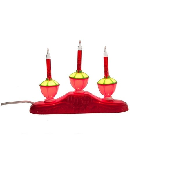 "9"" Red Glitter 3-Tier Bubble Light Candelabra Christmas Decoration - green"
