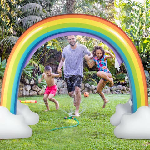 Gymax Inflatable Rainbow Sprinkler Backyard Games Summer Outside Water Toy Yard Fun - White & Seven Colors