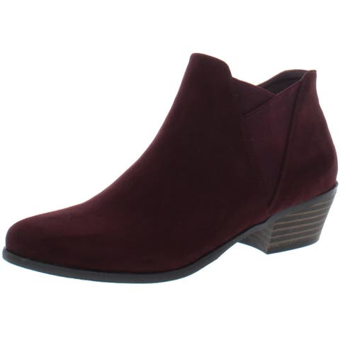 Madeline Womens Parfait Ankle Boots Faux Suede Stacked Heels - Burgundy - 7.5 Medium (B,M)