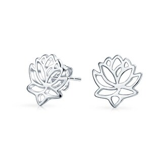 Bling Jewelry Gold Plated .925 Silver Cut Out Lotus Flower Stud Earrings