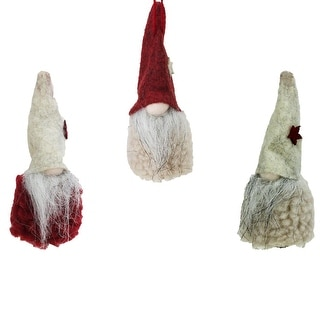 Set of 3 Plush Red and Beige Decorative Gnome Hanging Christmas Ornaments 3.75""