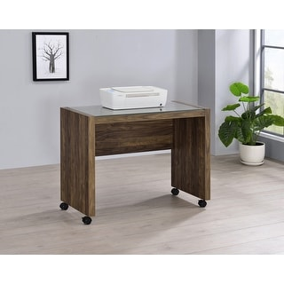 Link to Luetta Aged Walnut Rectangular Mobile Return with Casters Similar Items in Living Room Furniture