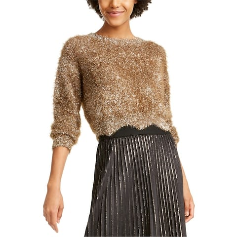 Lucy Paris Womens Lola Metallic Eyelash Pullover Sweater