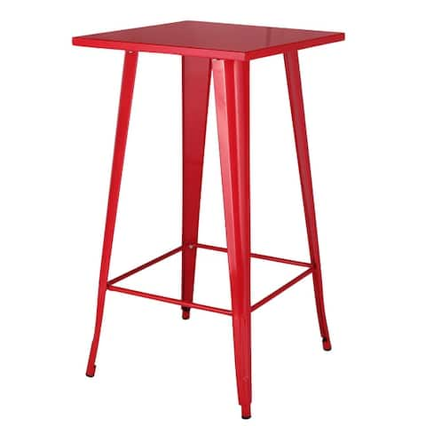 VECELO Square Tall Gunmetal Steel Bar Table 42 Inch(Red/White/Green/Black 4 Options) - 23.6 x 23.6 x 42 inches