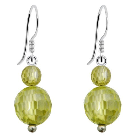 Cubic Zirconia Sterling Silver Ball Dangle Earrings by Orchid Jewelry