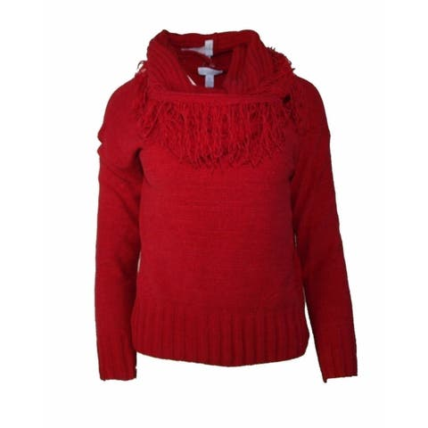 Charter Club Petite Red Detachable-Collar Sweater PS