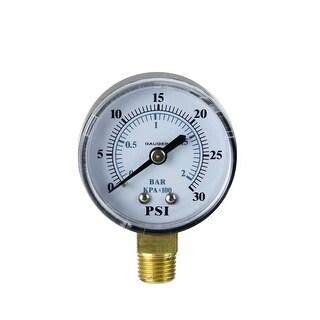 "2.75"" (50mm) Side Mount Plastic Cover Pressure Gauge 0-30 PSI - White"