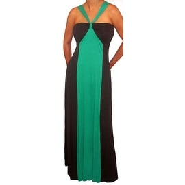 Funfash Plus Size Green Black Color Block Halter Long Maxi Dress