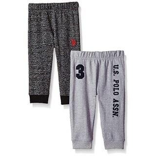 U.S. Polo Assn. Little Boys Gray Elastic Waist 2 Pack Fleece Pants Set 2-4T