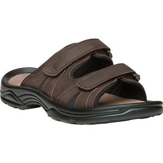 Propet Men's Vero Adjustable Strap Slide Brown Full Grain Leather