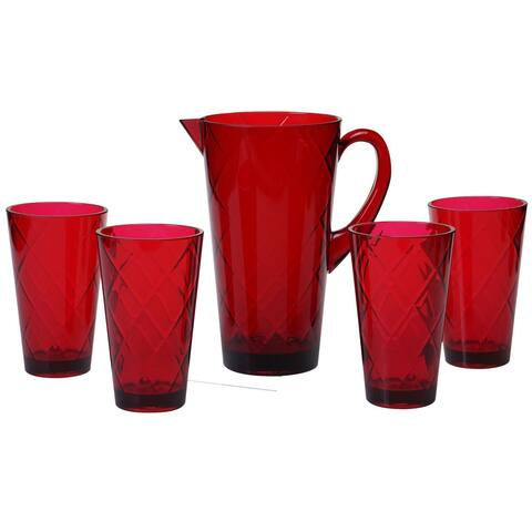 5pc ruby Red Contemporary Durable Drinkware Set