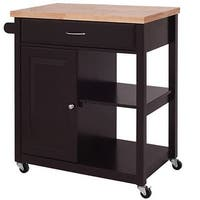 Costway Wood Rolling Kitchen Trolley Cart Storage Cabinet Utility