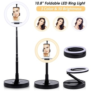 10.8-inch Round LED Ring Light Lamp with Built-in Tripod Stand & Phone Mount, Dimming Brightness & Warmth w/ Tethered Controller