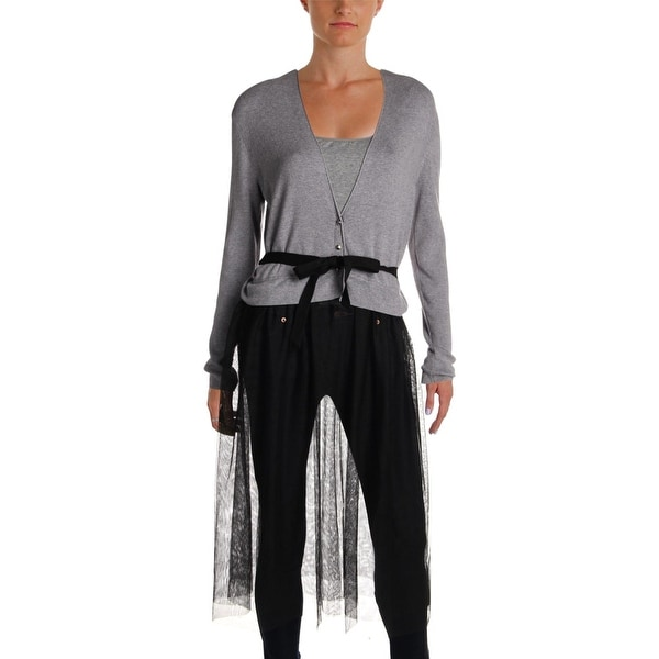 Nic + Zoe Womens Duster Sweater Tulle Mixed Media