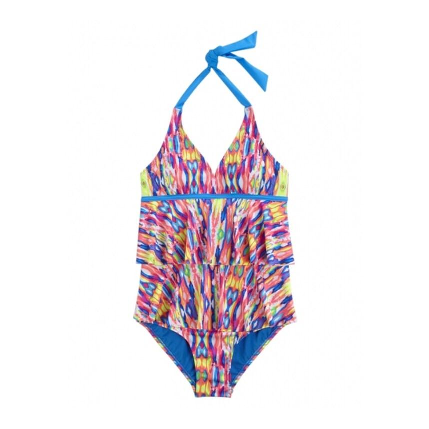 Justice for Girls Pink Tie Dye /& Stripe Bikini Swimsuit